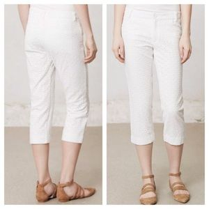 Anthro Cartonnier White Eyelet Cropped Pants